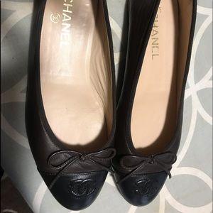 Chanel Ballerina Flats Size 40 Brown/Black